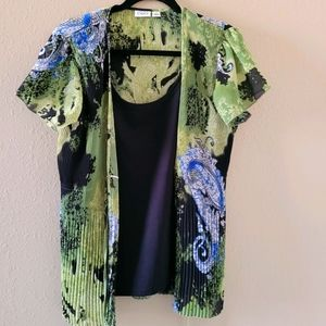 Cato lime green & blue blouse. Short sleeves.